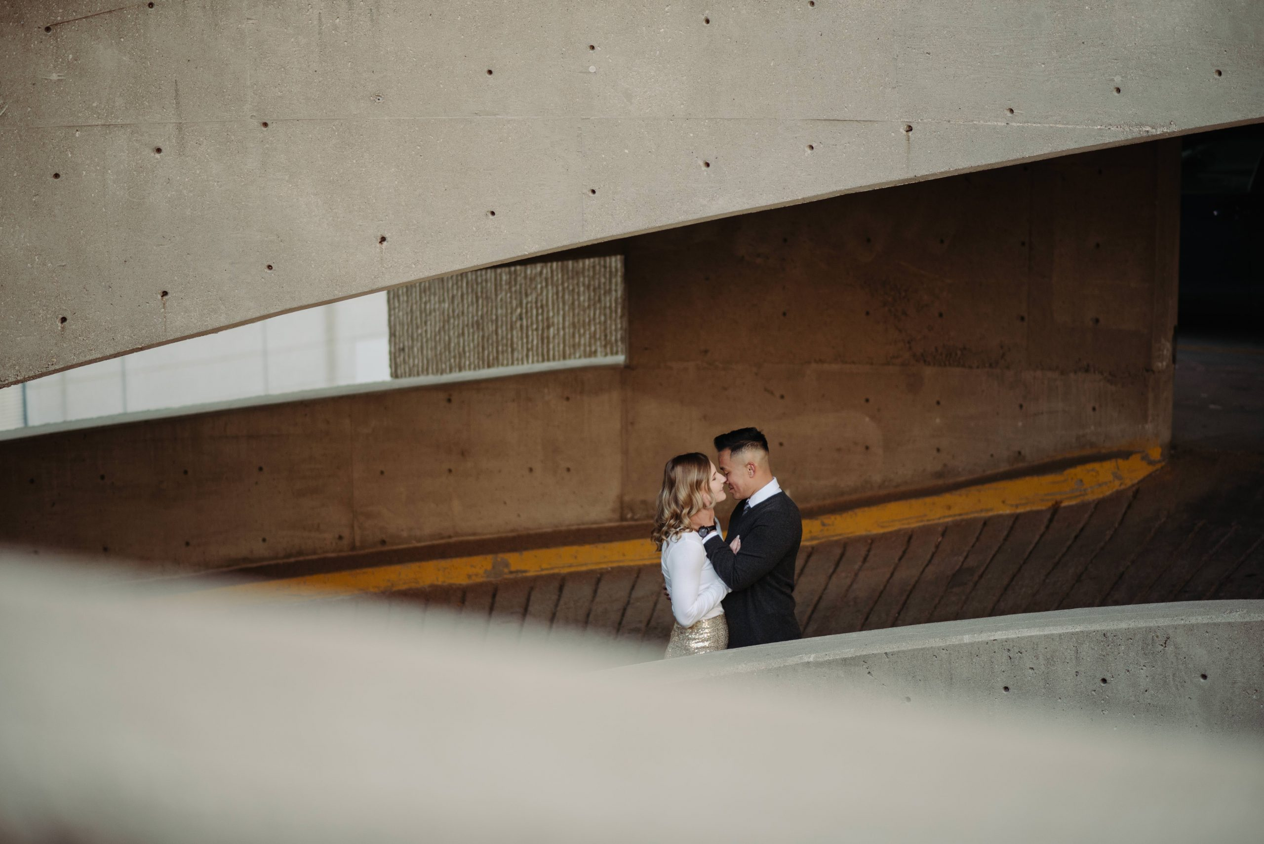 industrial parking garage engagement photos downtown minneapolis