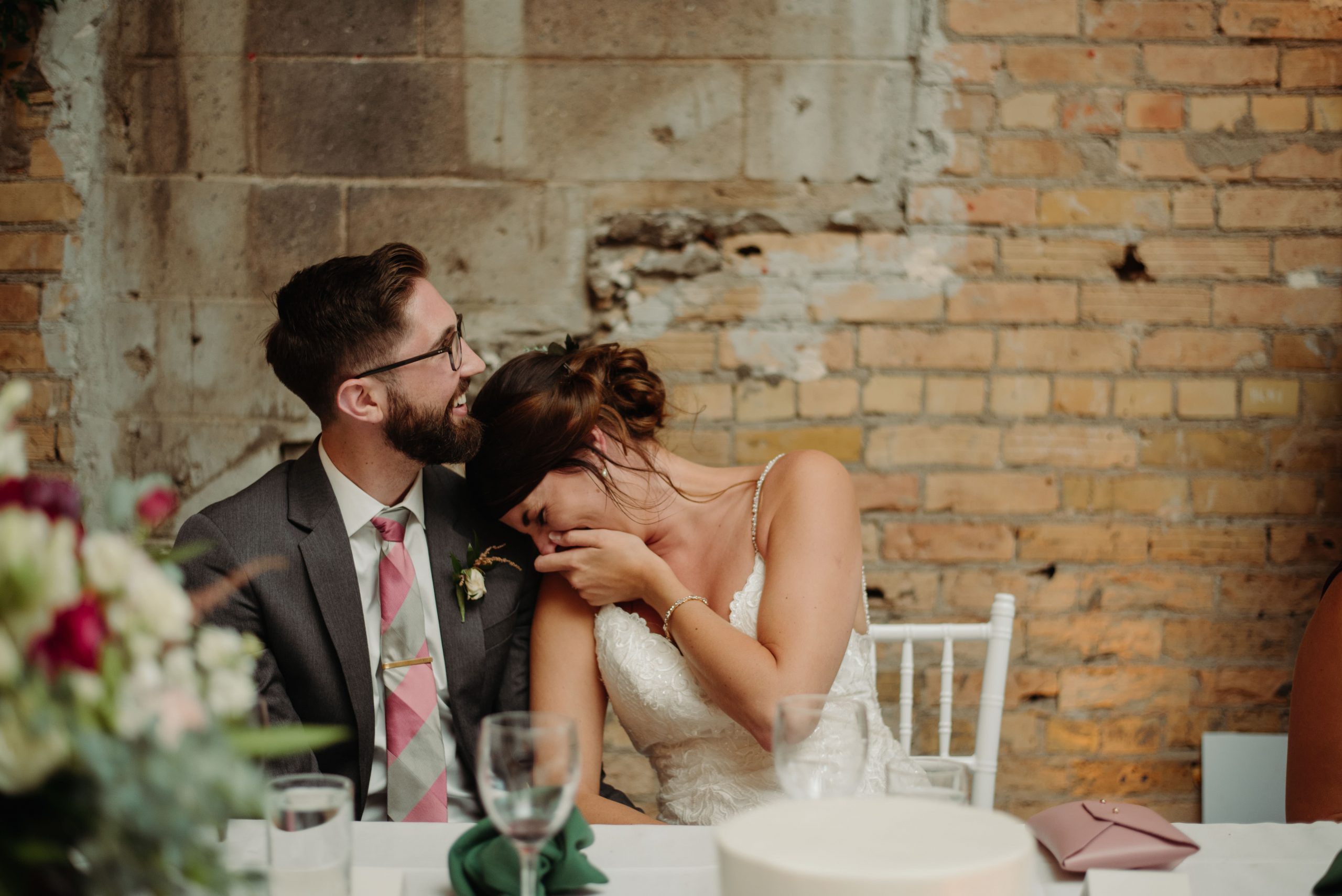 bride and groom reactions during speeches loring social minneapolis minnesota
