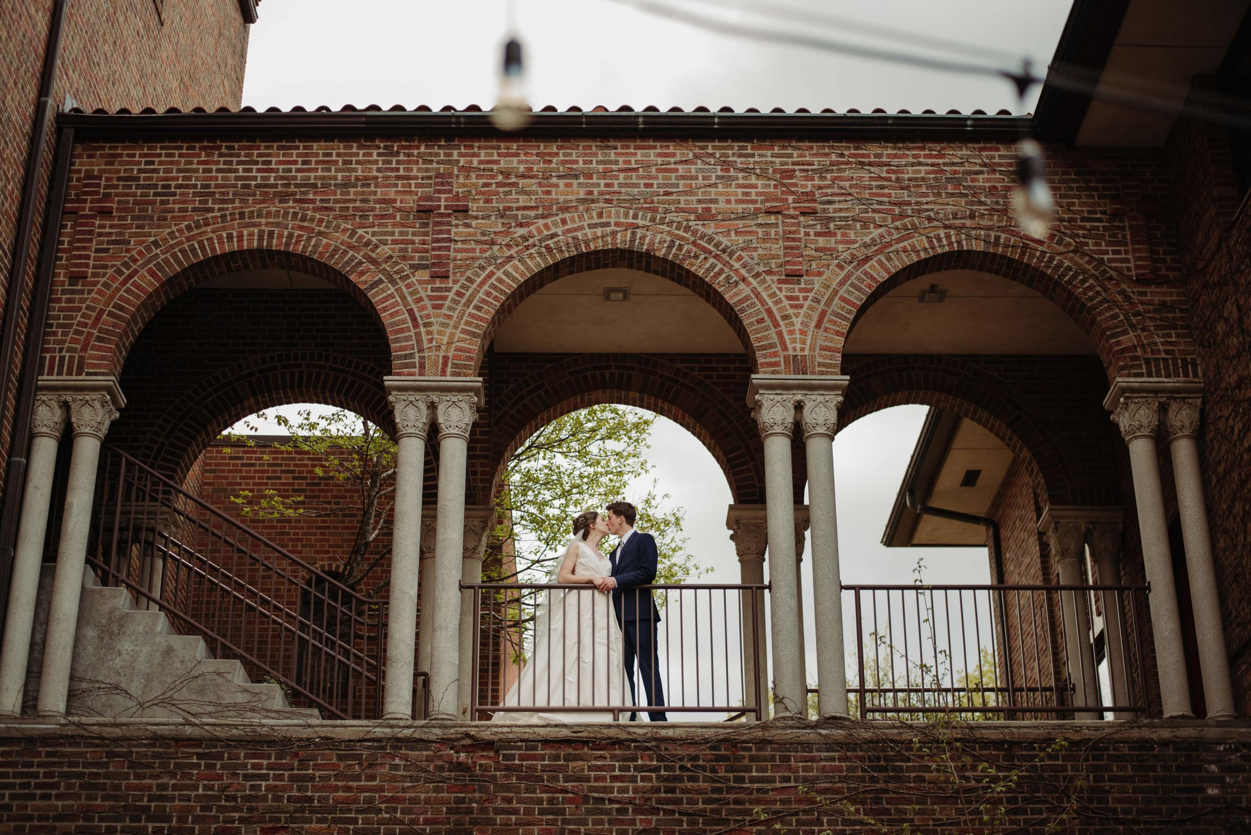 bride and groom in romantic archway minneapolis minnesota wedding