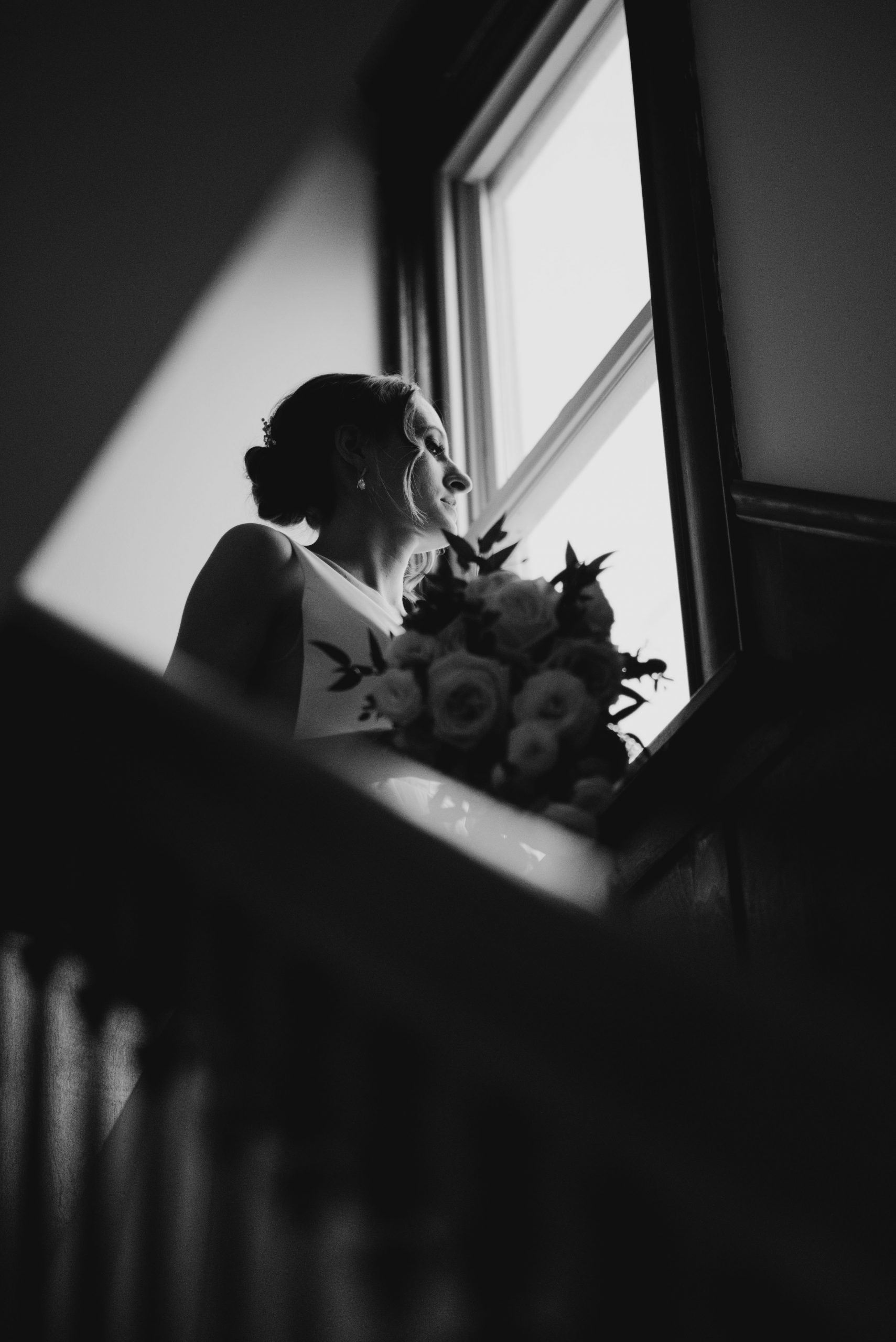 bride waiting at staircase minneapolis minnesota