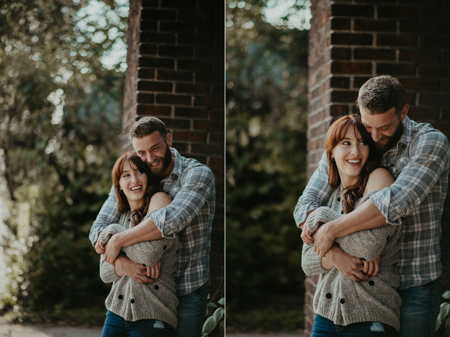 engaged couple holding each other laughing