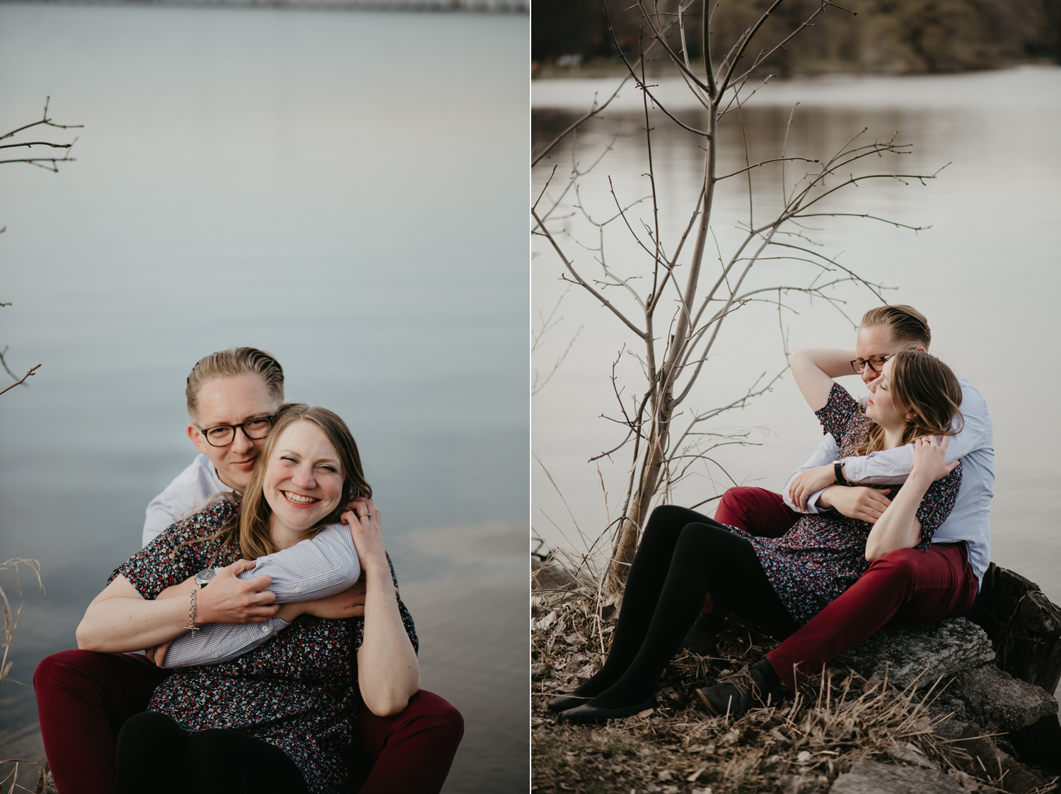 engaged couple cuddling by lake