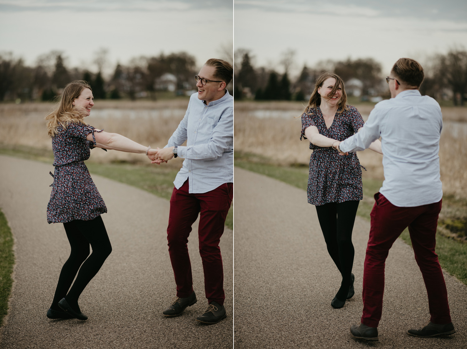 engaged couple dancing laughing
