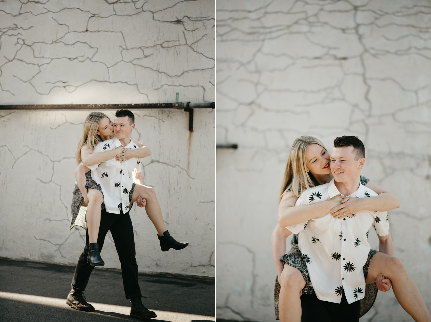 engaged happy couple piggy back ride smiling