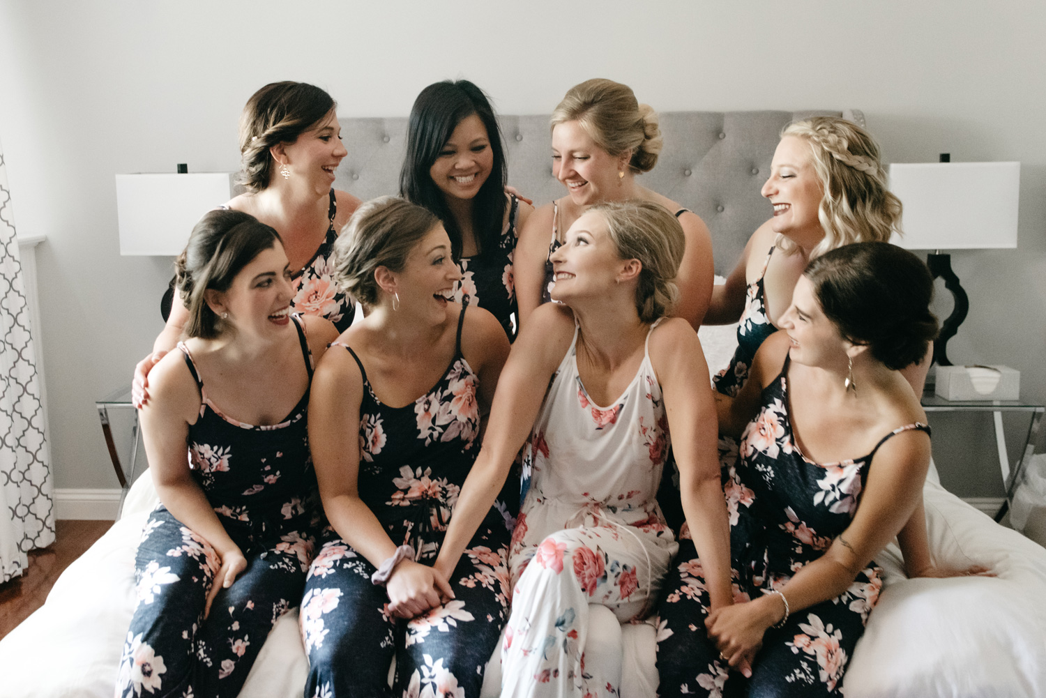 Bride and bridesmaids in pajamas