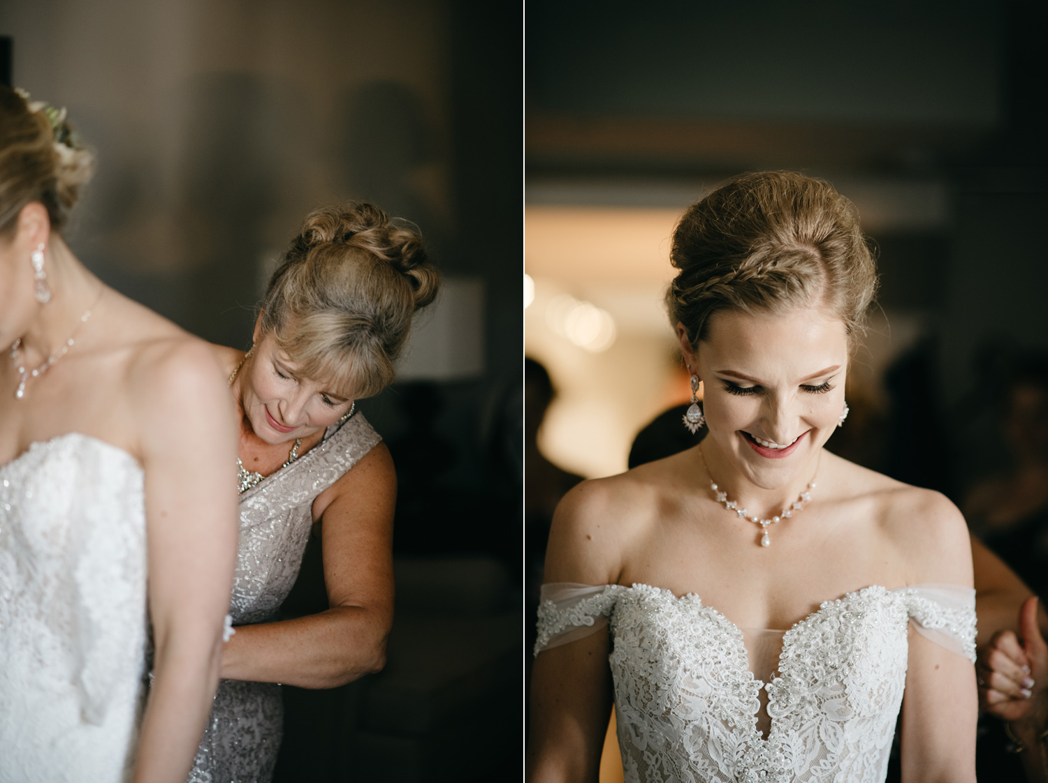 Close up photos of bride putting on wedding dress