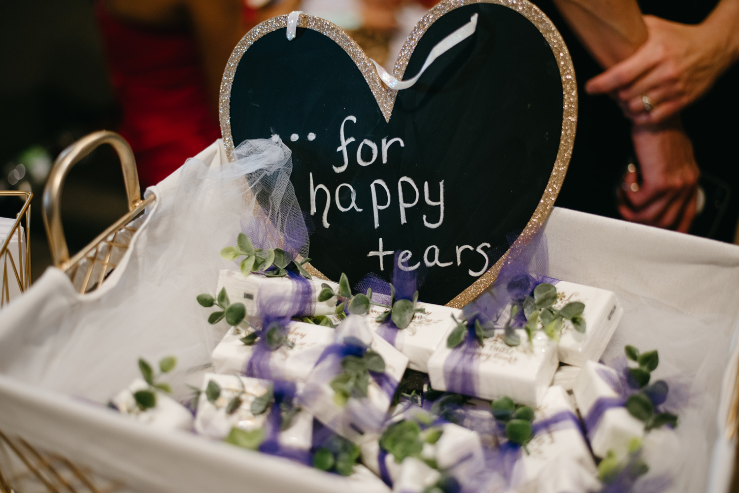 sign at ceremony saying for happy tears wedding