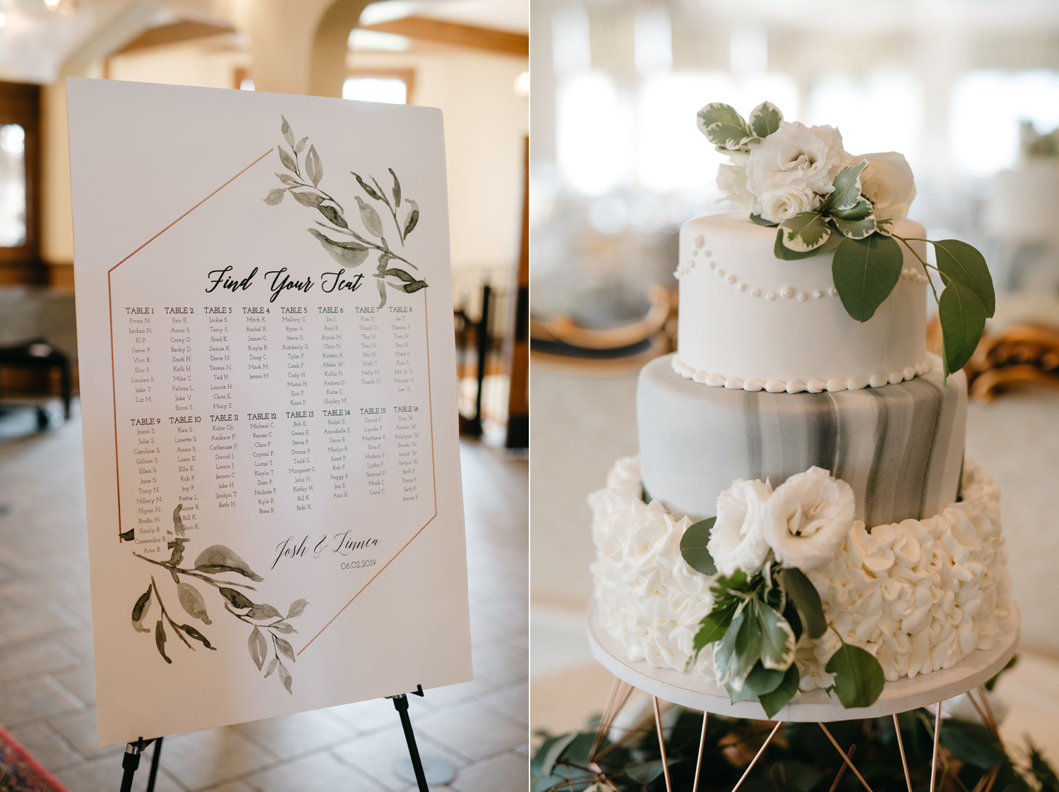 marble wedding cake and seating chart