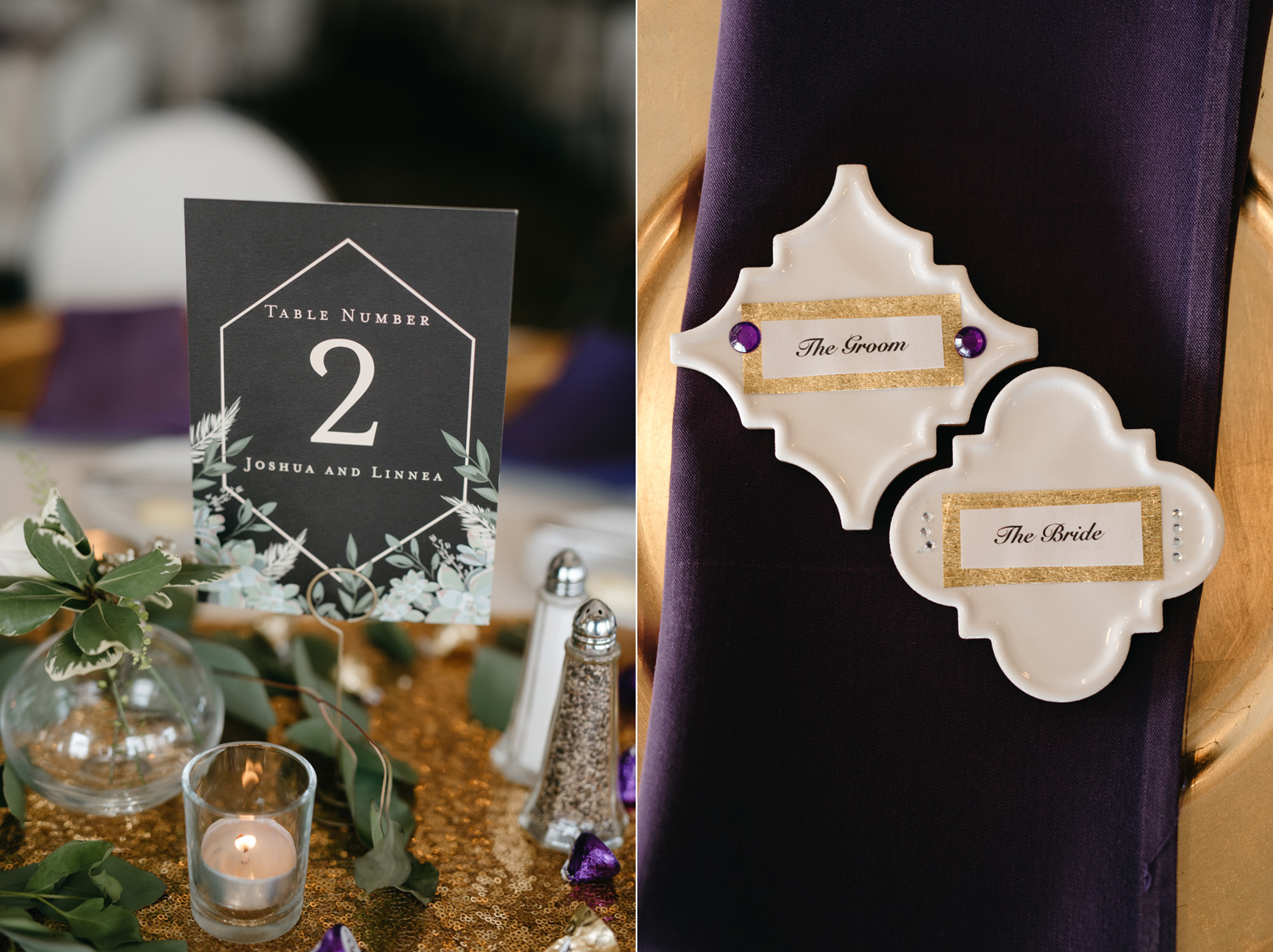 Wedding reception details place cards and table numbers