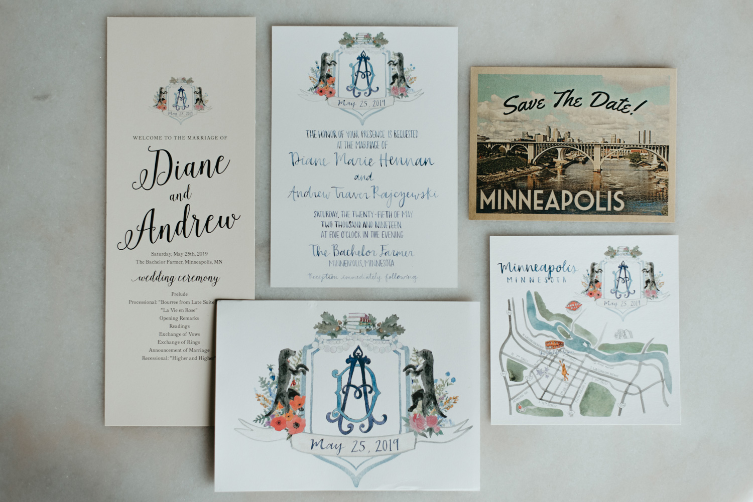 Hand drawn wedding invitation suite with family crest and Minneapolis