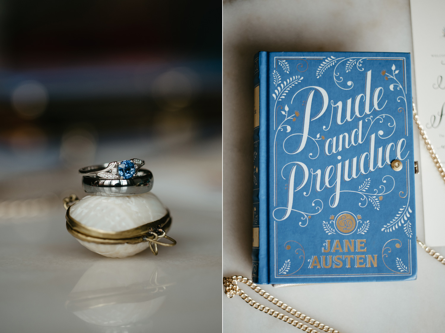 His and her wedding rings and a Pride and Prejudice purse
