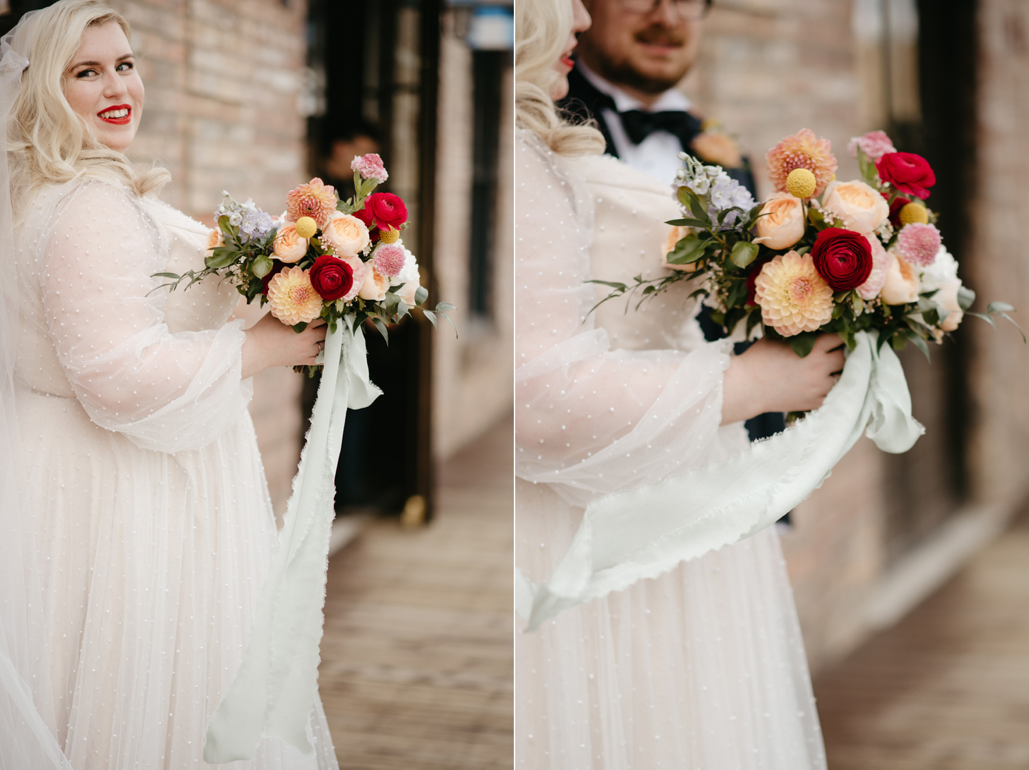 Bride holding bouquet of vibrant floral with silk ribbon