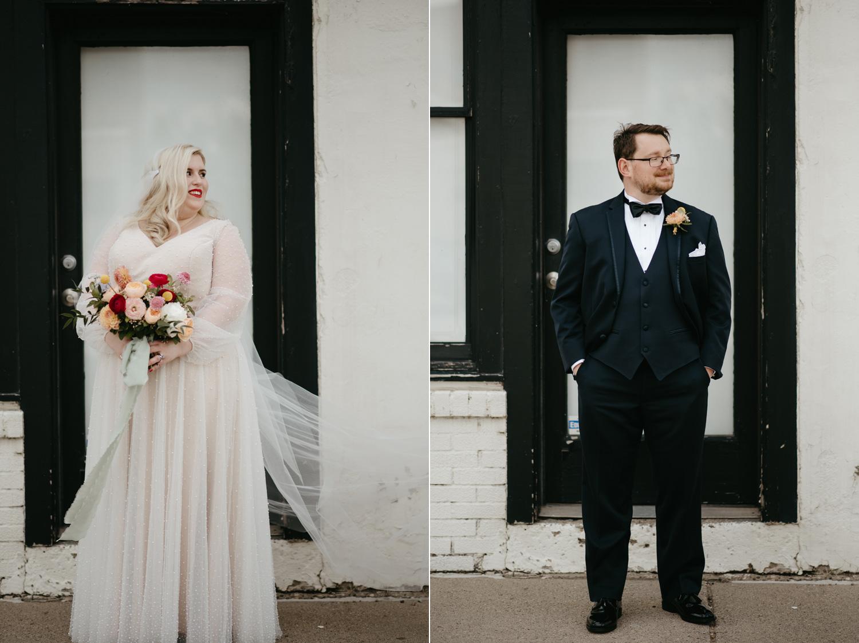 Bride and groom each posing in black and white doorway