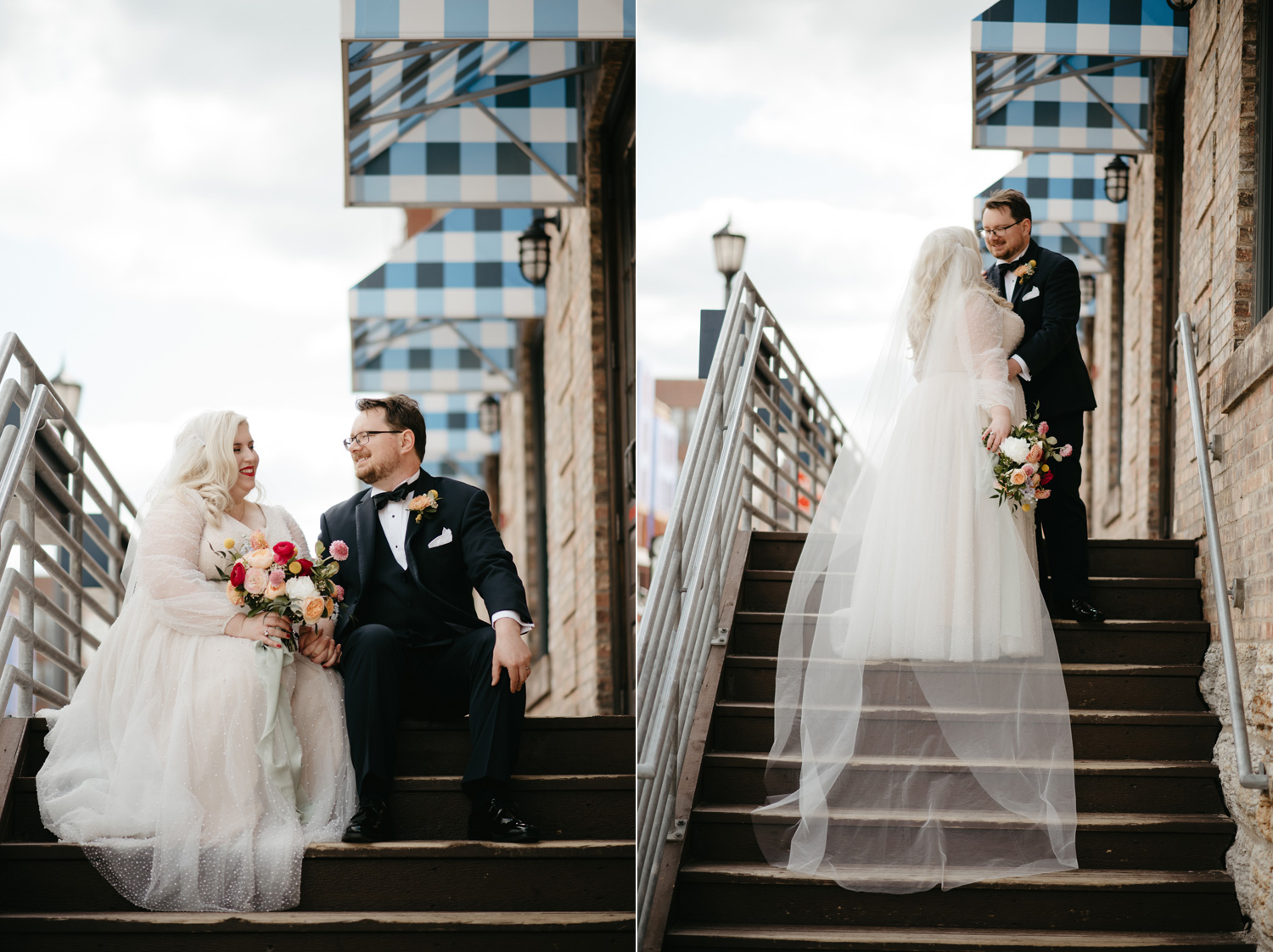 Bride and Groom on exterior steps leading up to their window