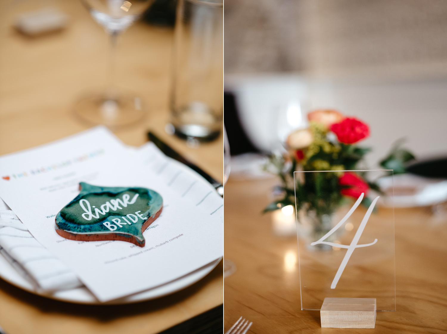 Wedding table setting at Bachelor Farmer, Minneapolis with short colorful floral arrangements