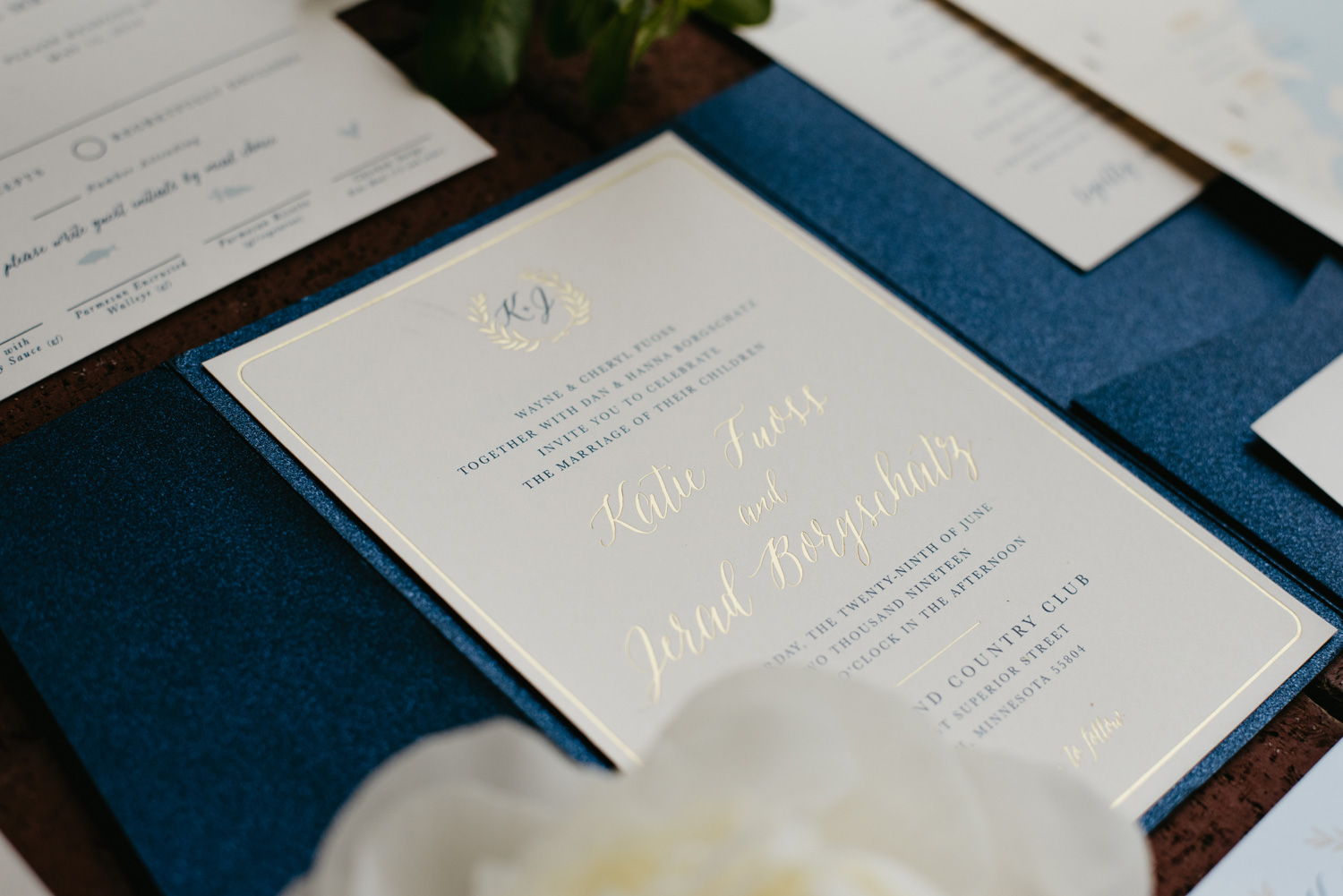Blue Wedding invitation with gold foil lettering
