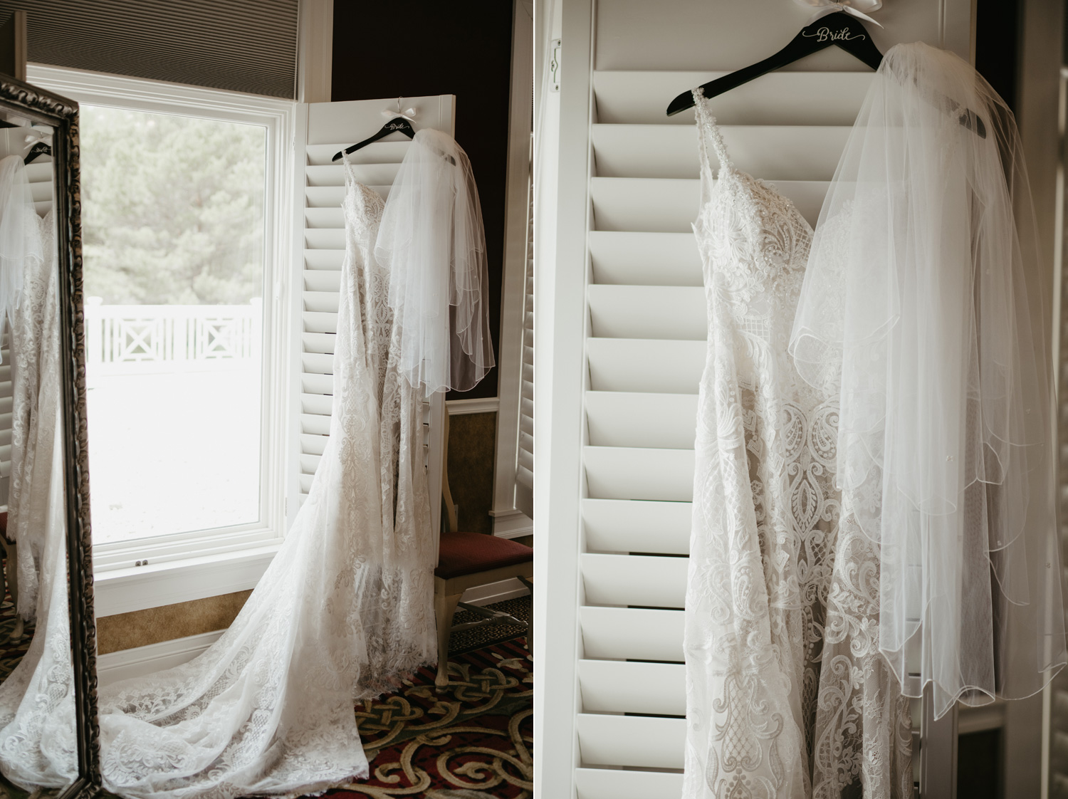 Wedding dress hanging up on window shutters