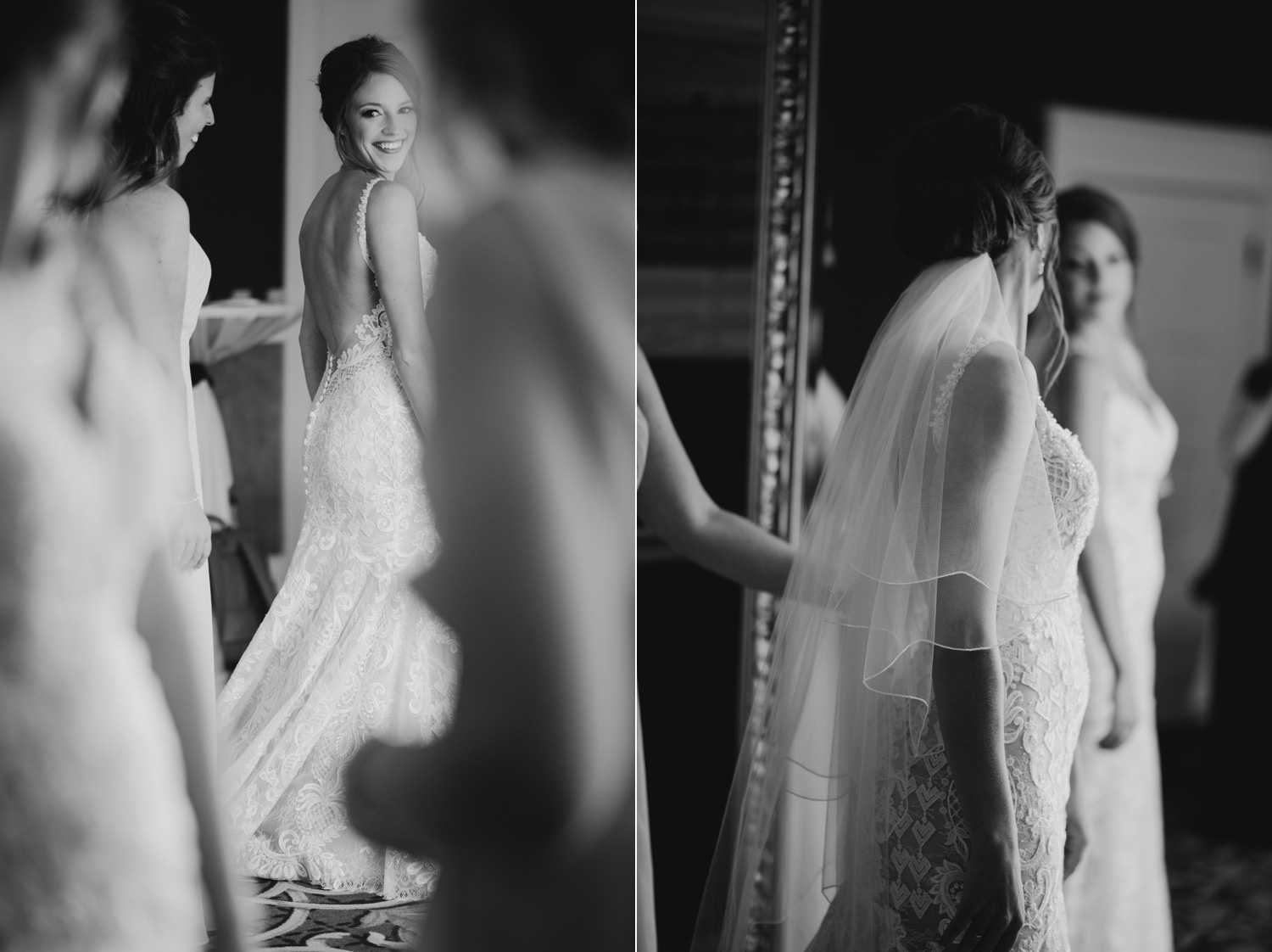 Bride checking herself out in the mirror