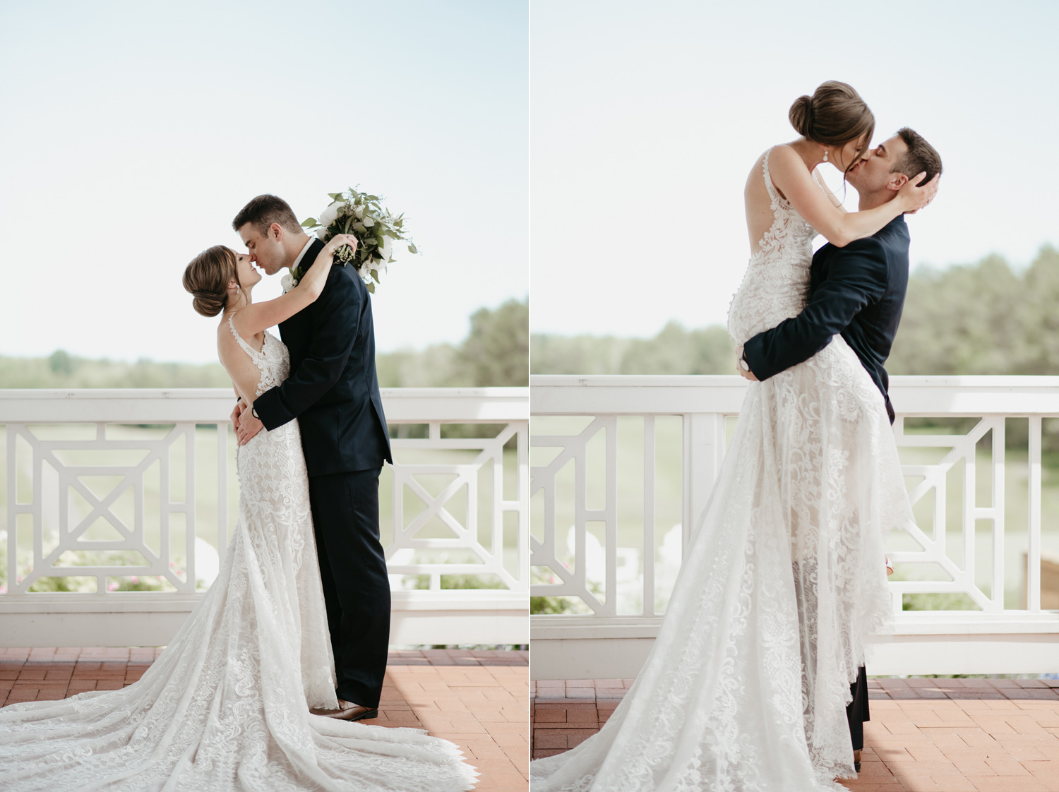 Bride and groom portraits outdoors on a patio