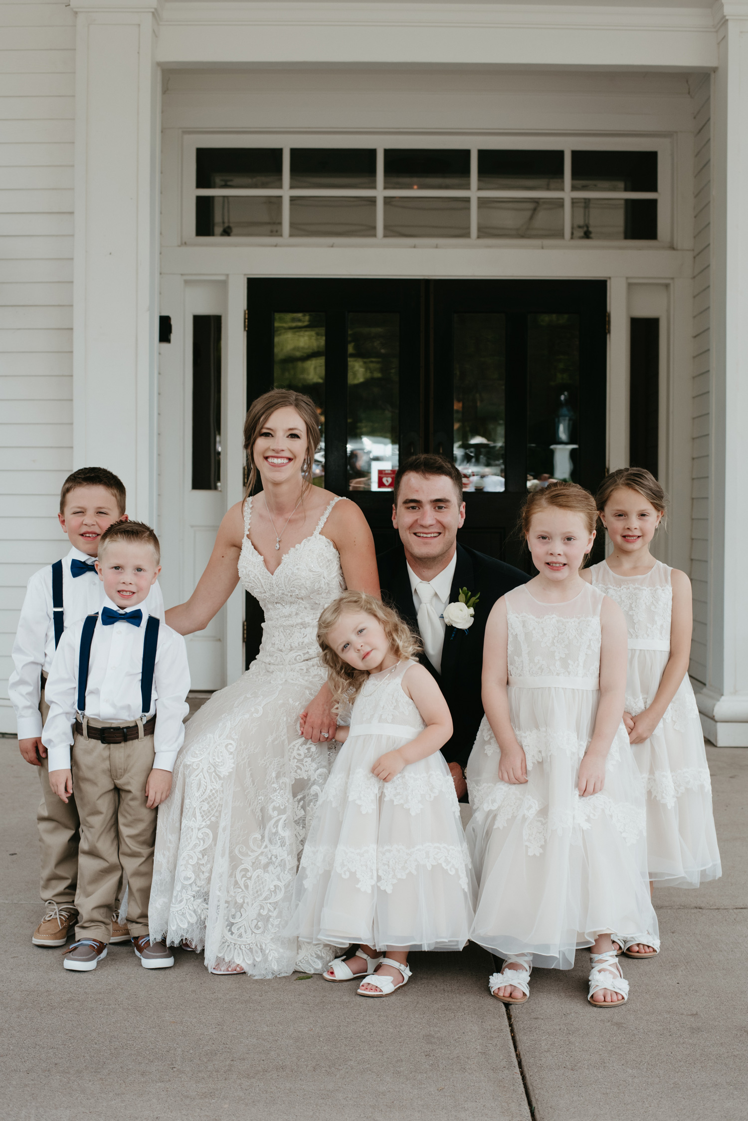 Bride, groom, flower girls and ring bearers