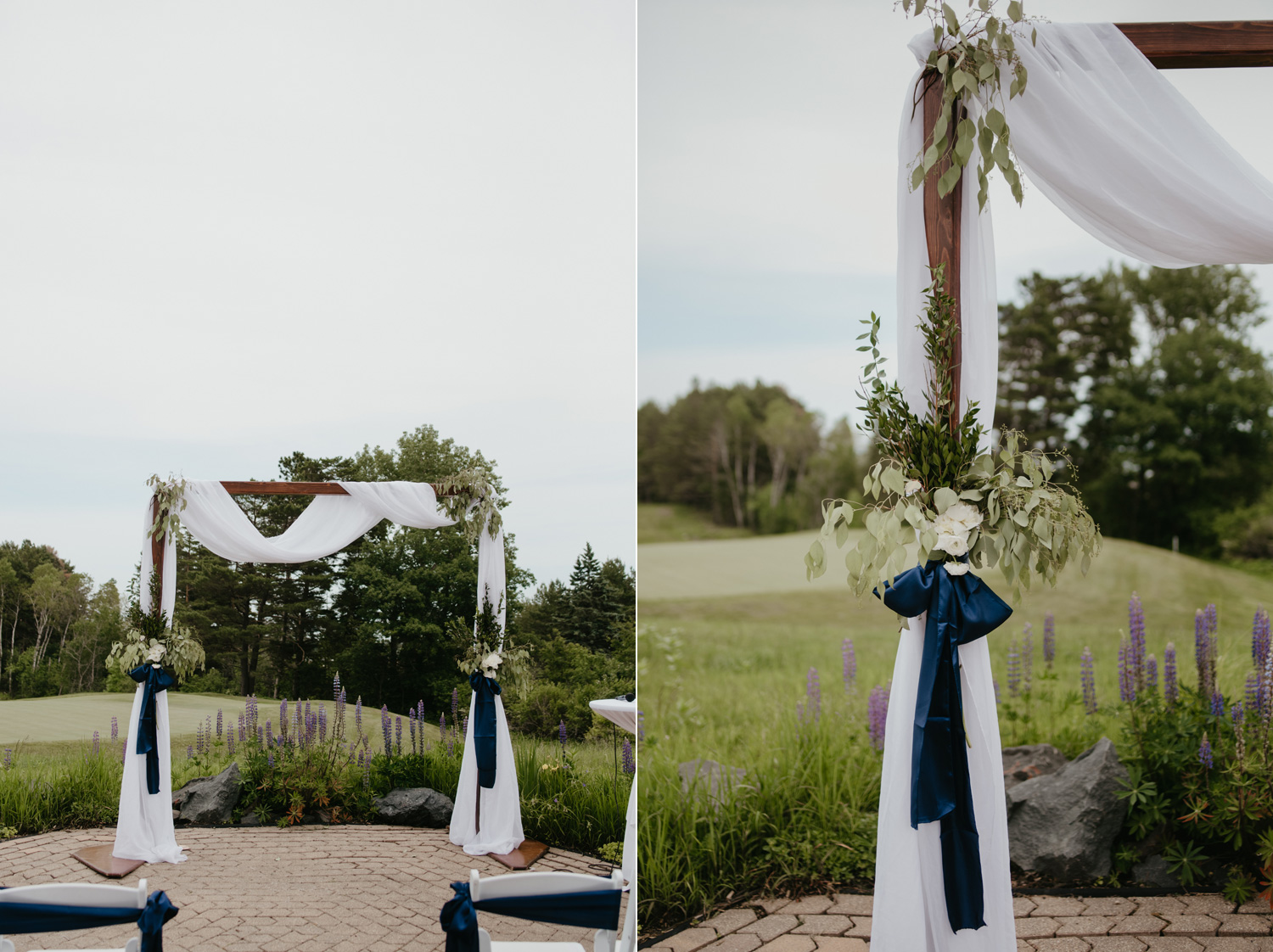 Ceremony arch outdoor blue ribbon and white draping