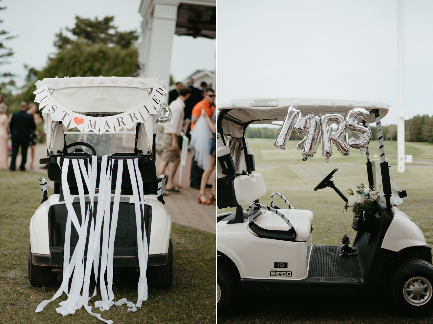 Getaway golf cart on wedding day