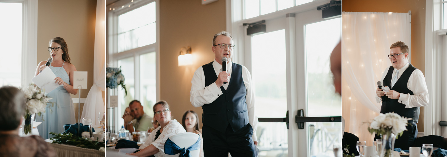 Speeches during dinner at wedding reception