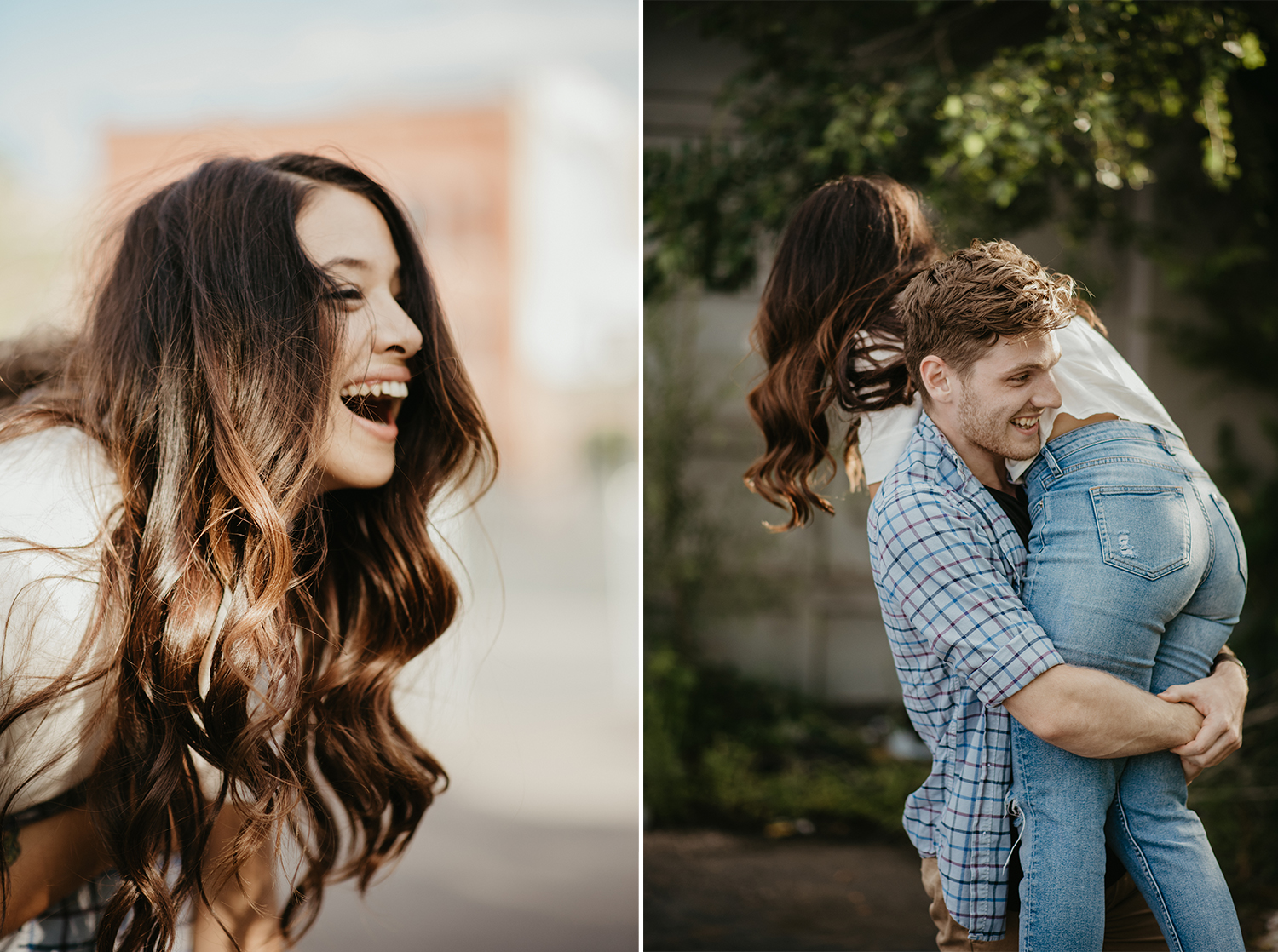 Woman tossed over man's shoulder for engagement photos in downtown minneapolis