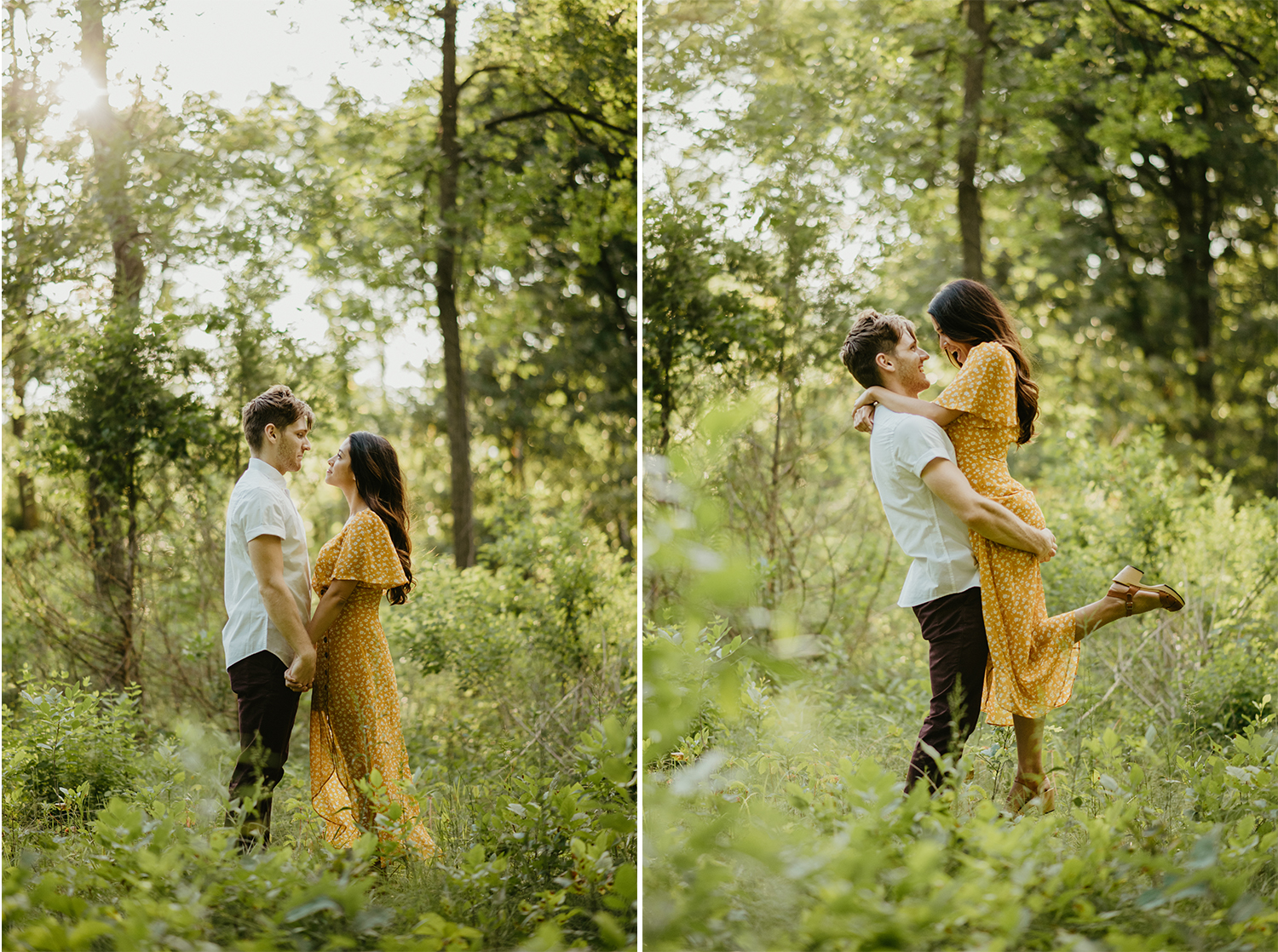 Man and woman cuddling in forest clearing for engagement photos at sunset