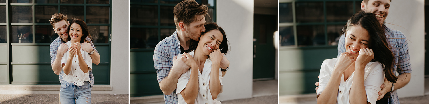 Man giving hugs to woman in engagement photos from behind