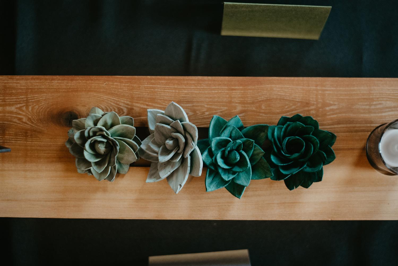 Paper succulent flower centerpieces Paikka Minneapolis St Paul