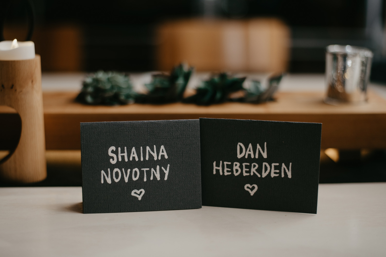 Handwritten black escort name cards wedding Paikka