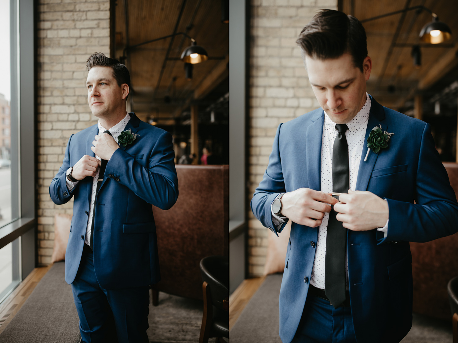 Groom getting ready at Hewing Hotel Minneapolis blue suit