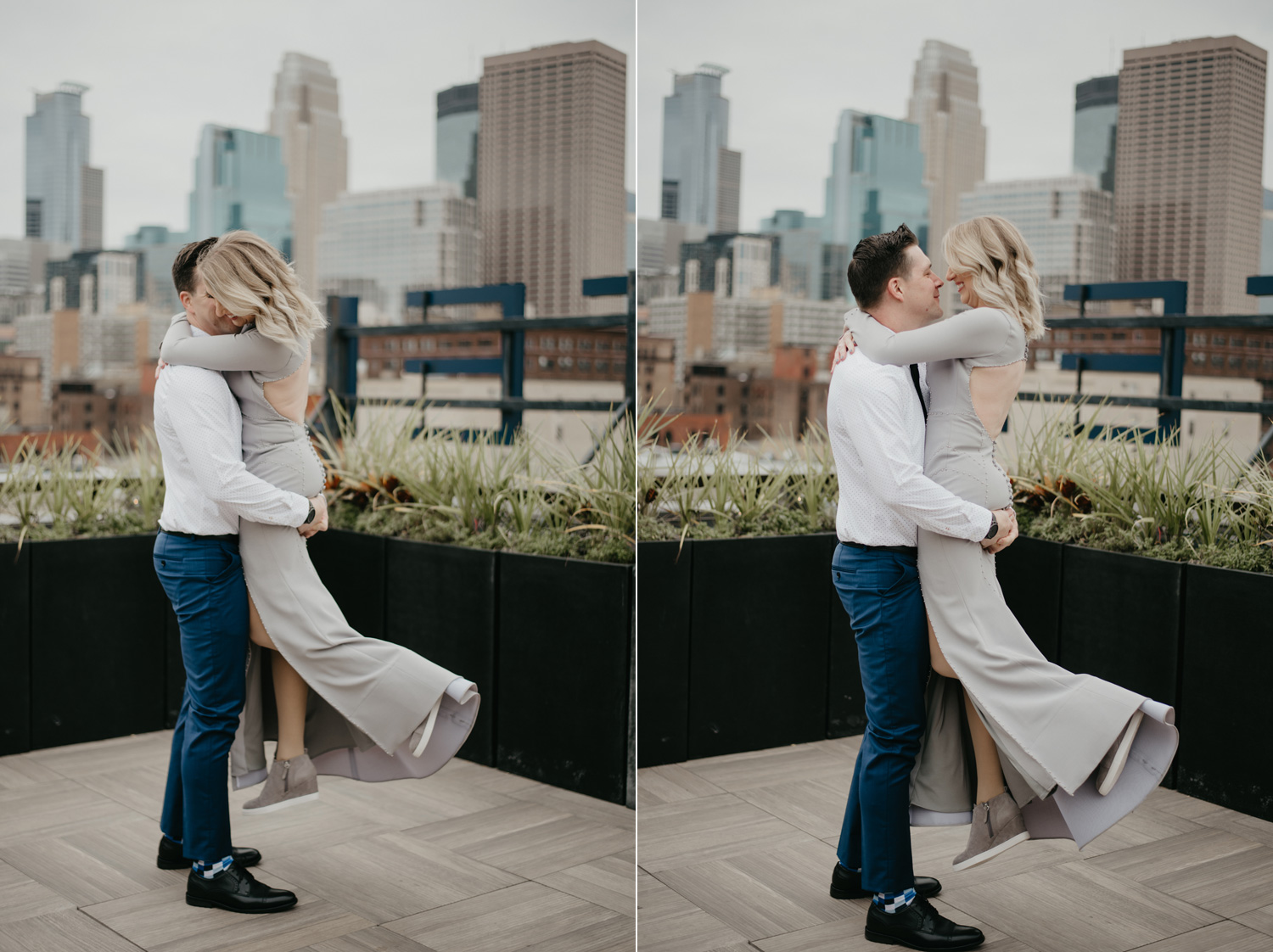Bride and groom on Downtown Minneapolis Rooftop Hewing Hotel