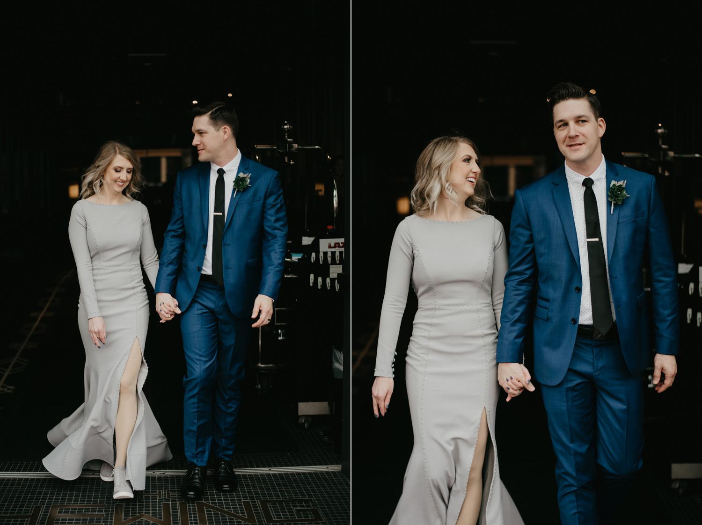 Bride and Groom walking Hewing Hotel Minneapolis