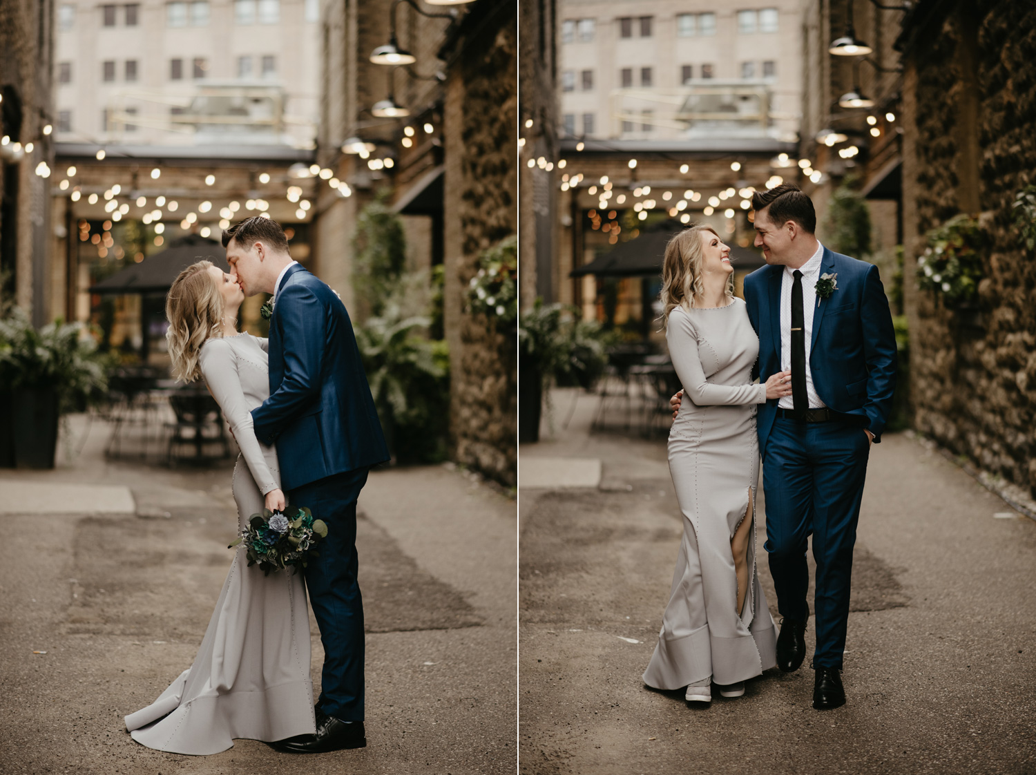 Bride and Groom in alleyway with cafe lights Downtown Minneapolis