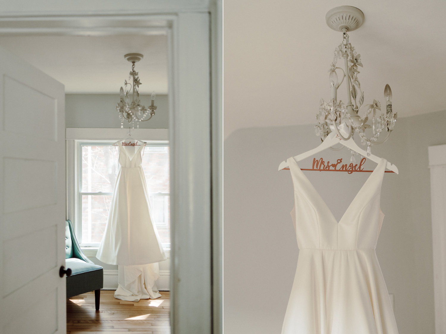 white silk wedding dress hanging in home