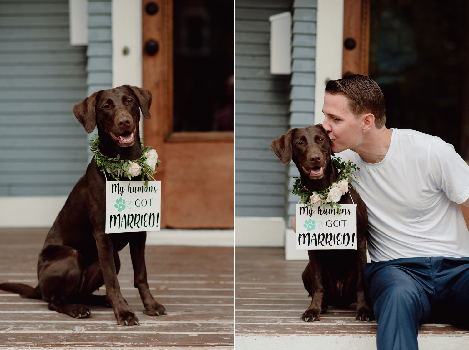 groom with dog on porch wedding minneapolis