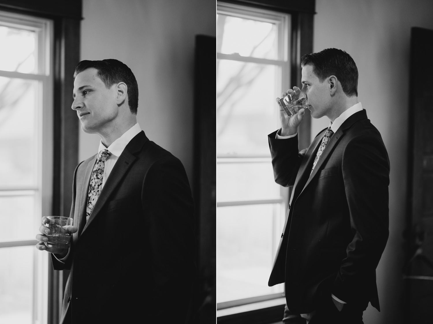 groom getting ready looking out window minneapolis wedding