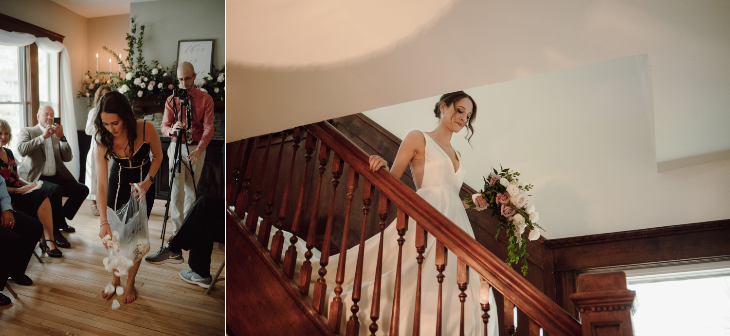 bride going downstairs for ceremony in home wedding minneapolis