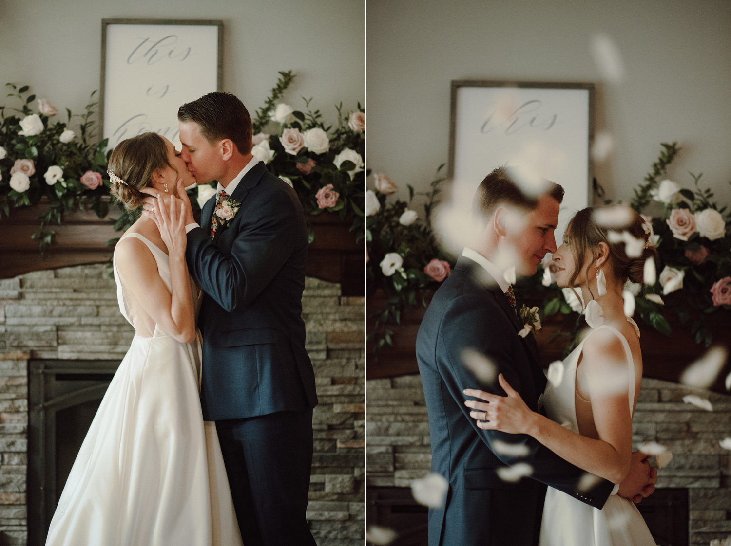 bride and groom first kiss n home intimate wedding ceremony minneapolis