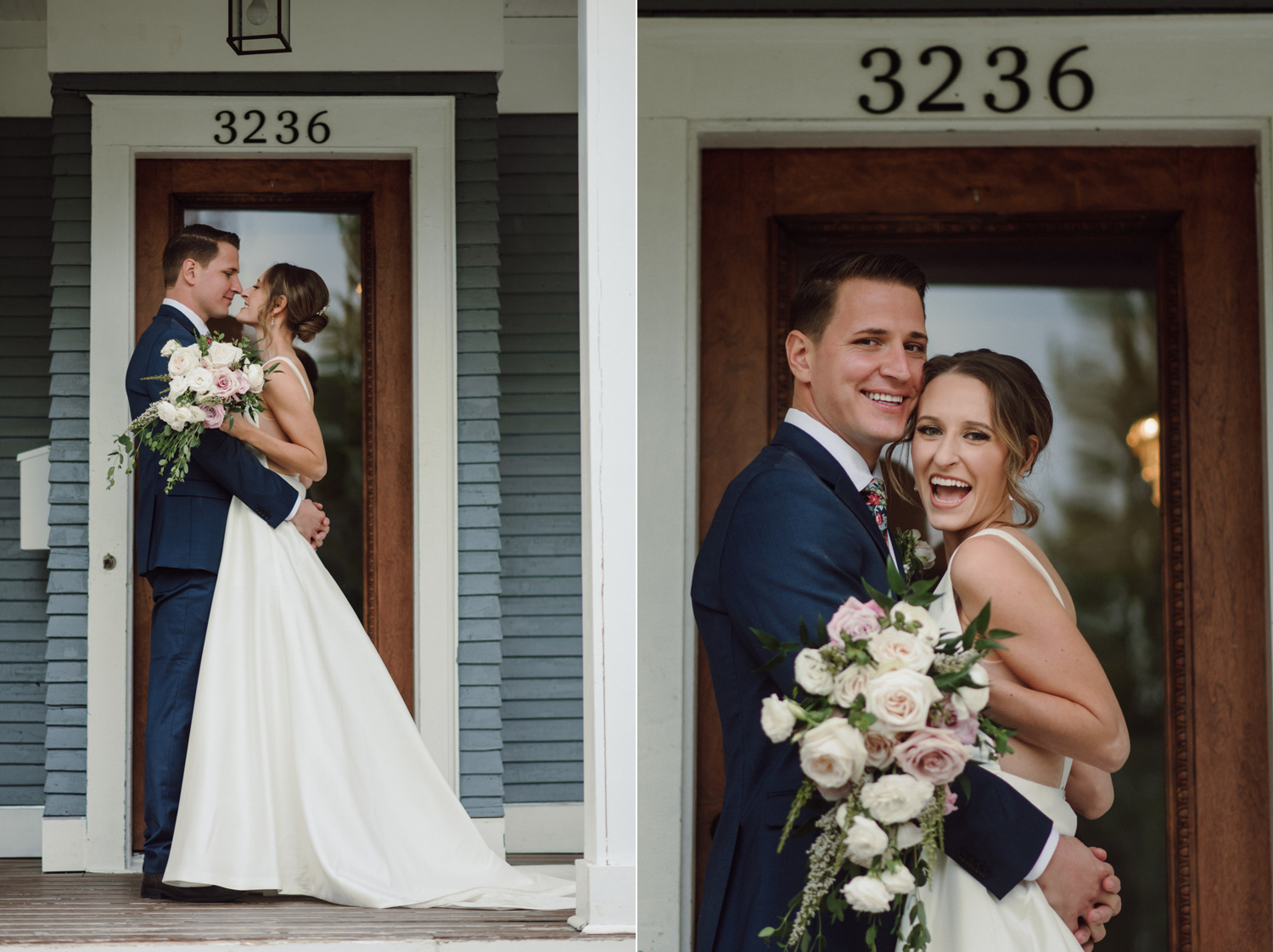 bride and groom on porch covid in home intimate wedding