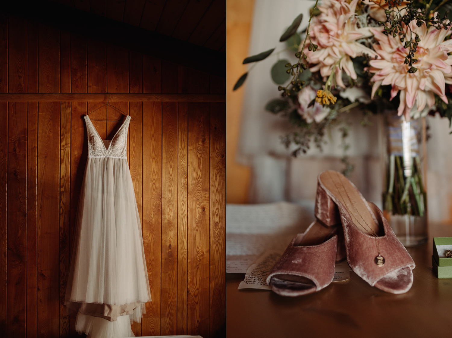 wedding dress and pink velvet wedding shoes