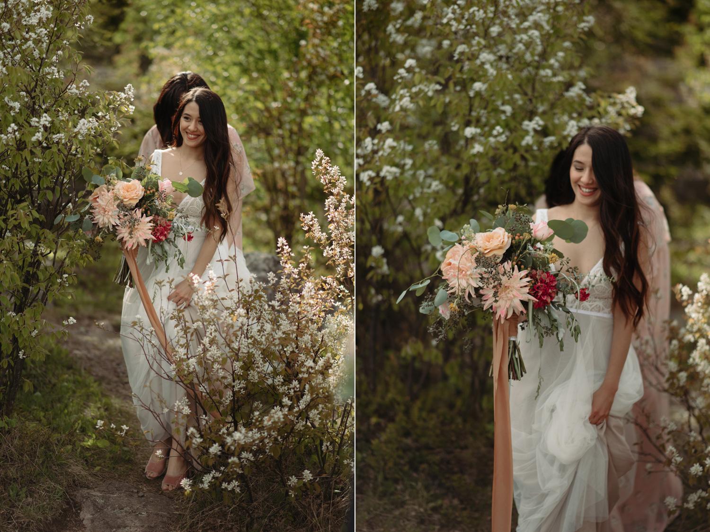 bride walking outdoors north shore minnesota elopement