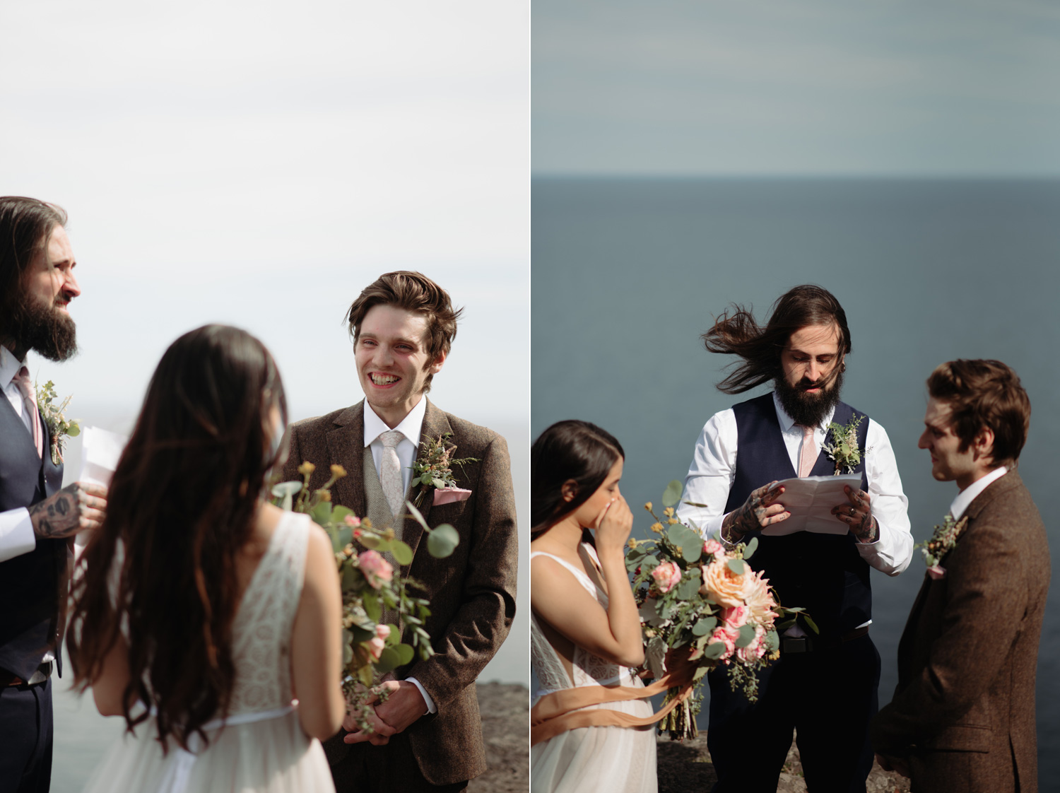 bride and groom elopement ceremony palisade head minnesota