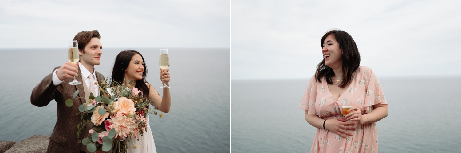 bride and groom toast champagne lake superior elopement minnesota