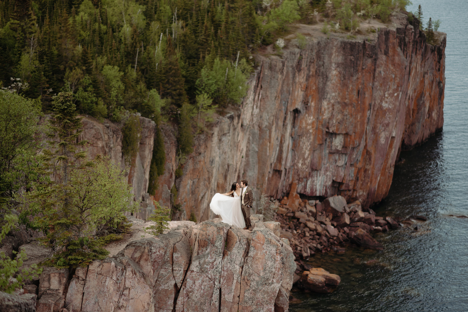 bride and groom portraits on Palisade Head north shore minnesota elopement