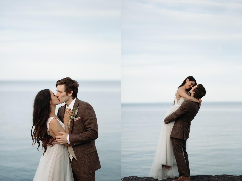 bide and groom wedding portraits black beach north shore minnesota elopement