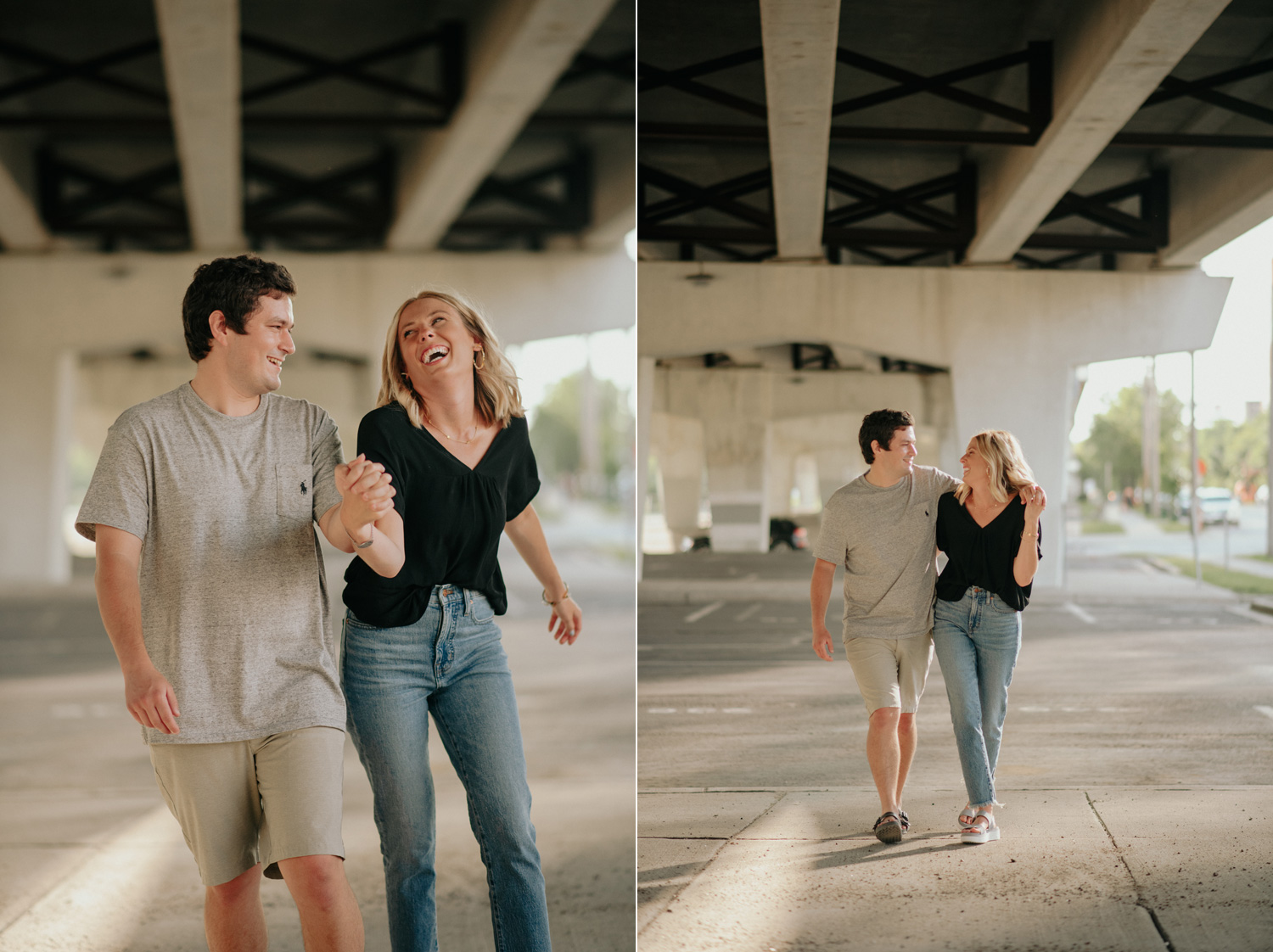 engaged couple walking under bridge underpass minneapolis