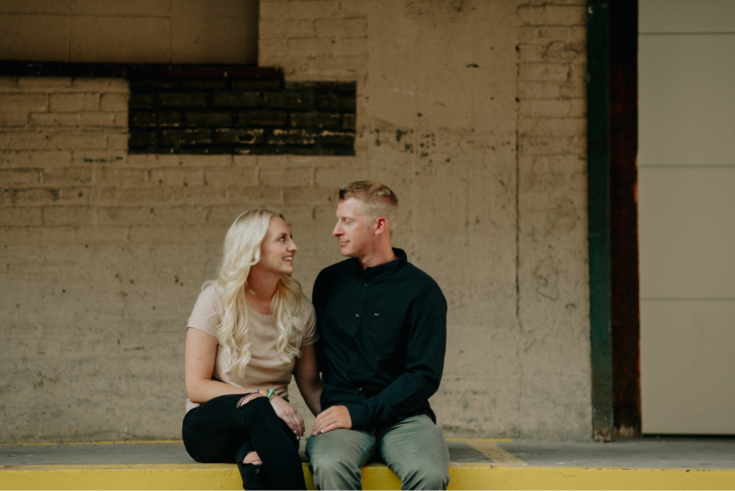 Urban engagement session warehouse district Minneapolis on a loading dock